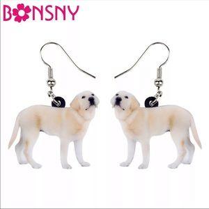 Bonsny Acrylic Labrador Retriever Earrings